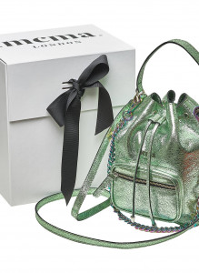 Metallic mint Bucket Midi Bag