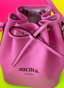 Mini leather pink bucket bag