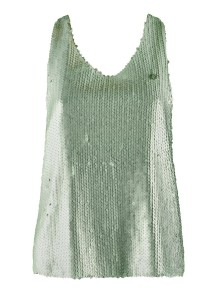 Sequin Silk Mint Top